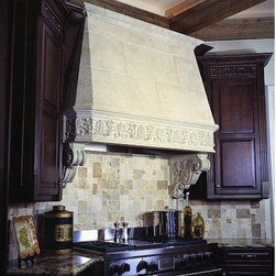 The Cheverny Kitchen Range Hood- Francois & Co. - The Cheverny is an intricately ornamented range hood with high relief fleur-de-lis running frieze on the lintel. A thick round molding tops the shelf and separates it visually from the stack.