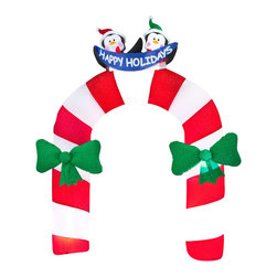 """None - Archway Mixed Media Candy Cane with Penguin - This outdoor inflatable archway features candy cane stripes and two friendly penguins wishing you """"happy holidays."""" It creates a festive entryway for any holiday party. Airblown inflatables make a wonderful addition to your outdoor Christmas decor."""