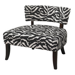"""Powell - Powell Classic Seating """"Lady Slipper"""" Zebra Print Accent Chair in Black - The """"Lady slipper"""" zebra print chair adds bold drama and style to any space. The chair features a generous sized plush seat for comfort. A low lying swanky chair back has simple button tufting for appeal."""