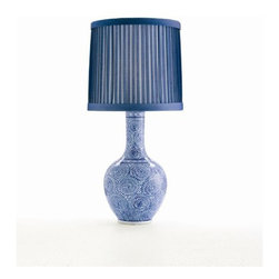 "Arteriors Home - Arteriors Home Batik Blue & White Porcelain Lamp - The pattern was inspired by a Japanese Batik fabric, the color is traditional Chinese indigo. The results are classically modern. The box pleated drum shade is also a juxtaposition of old and new concepts. The lamp measures 13.5"" in diameter X 28.5""H and the shade measures 12.5"" in diameter on top, 13.5"" in diameter on the bottom and 12.5"" on the side.  Features a 3-way bulb function and takes a 100 watt max bulb (BULB IS NOT INCLUDED).  The lamp is UL and CUL listed.  Please note this lamp is hand crafted and variations in finish will occur."