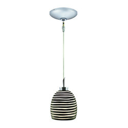 Jesco Lighting - Jesco Lighting KIT-QAP104-BW-A Zeb 1 Light Low Voltage Mini Pendant - Jesco Lighting has built a solid reputation on quality, service and value. An expanded product offering includes a broad range of indoor and outdoor lighting products. All are available in various energy-efficient lamp sources and options exist for a multitude of power supplies and accessories allowing you to customize according to your project needs.Zeb hand-blown cased cut glass with opal interior. It includes a quick adapt jack, 96 in. Field-cuttable cable, socket assembly, hang-straight tube, protective lamp shield and xenon bi-pin 12v 50w lamp. Zeb design adds drama, grace and effective lighting to any residential space, retail or commercial. The monopoint surface-mounted canopy is offered with (1) integral 12v 50w transformer and complements the design and functionally of this kit. Pendant - black and white finish. Monopoint round canopy - satin chrome finish.Features: