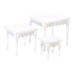 """Gifts Galore And More - Flourish Nesting Tables - There's no limit to what these enchanting nesting tables can do for your room!  Tuck the smaller two underneath to create visual interest, stagger them to make a stepping display for plants and flowers, or place them near seating areas to use as side tables.  The intricate cutout design surrounds the tables on all four sides and the white shabby chic finish makes them look like longtime treasures.  Large:  21.50"""" x 21.50"""" x 20"""" high, Medium: 16.25"""" x 16.25"""" x 15.50"""" high, Small: 11.25"""" x 11.25"""" x 10.50"""" high."""