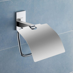 Gedy - Chromed Brass Toilet Roll Holder With Cover - Decorative toilet paper holder with cover made of brass in a chrome finish. Toilet roll holder with cover made of chromed brass. From the Gedy Maine collection.