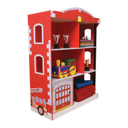 KidKraft - Firehouse Bookcase - Little heroes can stow books, trophies and other valuable knickknacks on this firehouse-themed bookcase. Featuring three levels with six storage compartments, a hidden cubby behind a lifting garage door and bell for altering other firefighters, it engages little heroes' imaginations while teaching them the importance of organization.   28.25'' W x 38'' H x 12.25'' D Medium-density fiberboard Recommended for ages 3 years and up Imported