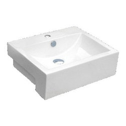 "TCS Home Supplies - 20-1/2"" Rectangular Porcelain Single Hole Countertop Bathroom Vessel Sink - Product Features:"