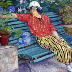 """Henri Lebasque A Young Woman Seated with Hydrangeas   Print - 16"""" x 20"""" Henri Lebasque A Young Woman Seated with Hydrangeas premium archival print reproduced to meet museum quality standards. Our museum quality archival prints are produced using high-precision print technology for a more accurate reproduction printed on high quality, heavyweight matte presentation paper with fade-resistant, archival inks. Our progressive business model allows us to offer works of art to you at the best wholesale pricing, significantly less than art gallery prices, affordable to all. This line of artwork is produced with extra white border space (if you choose to have it framed, for your framer to work with to frame properly or utilize a larger mat and/or frame).  We present a comprehensive collection of exceptional art reproductions byHenri Lebasque."""