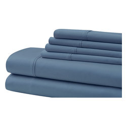 500 Thread Count Egyptian Cotton 6-piece Solid Sheet Set King Blue - Indulge yourself in spa like luxury with this luxurious six-piece towel set. The set is made of Egyptian cotton known for its softness, absorbency, and durability. These towels make an ideal complement to any bathroom whether you use it to pamper yourself or reserve it for special guests. Egyptian cotton fibers are valued for their superior length and strength, which also reduces the buildup of pile and lint. These towels will feel cozy and comfortable against your skin every time you use them. Additionally the towels get softer with washing and drying.