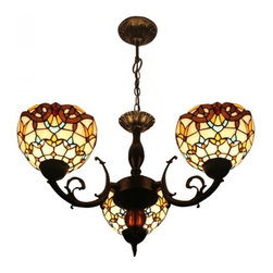 ParrotUncle - Tiffany Stained Glass Baroque 3 Lights Vintage Dining Room Chandelier - Tiffany Stained Glass Baroque 3 Lights Vintage Dining Room Chandelier