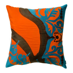 "KOKO - Coptic Pillow, Orange, 18"" x 18"" - These colors will have you dreaming of a vacation in the tropics. The bold colors complement the fluid design beautifully, while evoking an underwater wonderland. It would look great paired with an exotic mix of pillows on a sofa."