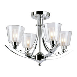 Trans Globe Lighting - Trans Globe Lighting MDN-1064 5 Light Semi Flush-mountContemporary Indoor Collec - Double glass semi-flush mount sports clear votive outer glass and frosted inner votive cups. Sophisticated and elegant with clean sleek lines.
