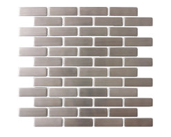 """Susan Jablon Mosaics - Stainless Steel Subway Tile - This stainless steel tile is shaped into ¾"""" x 2 1/2"""" stainless steel mosaic tile in a running brick orientation. This selection is truly a classic statement that works with any counter top. Stainless steel tile is very easy to care for.This 8mm thick, 3/4 x 2 1/2 inch subway stainless steel tile has a stylish brushed gray, silver metallic surface. Absolutely perfect for your kitchen backsplash, this pairs with any countertop surface you have chosen. The construction of this tile is a porcelain core that is wrapped with stainless steel on the top and on all the sides. It can be cut with a wet saw during installation.It is very easy to install as it comes by the square foot on mesh and it is very easy to clean! About a decade ago, Susan Jablon re-ignited her life-long passion for mosaics and has built a customer-focused, artist-driven, business offering you the very best in glass and decorative tiles and mosaics. We are a glass tile store committed to excellence both personally and professionally. With lines of 100% SCS Qualified recycled tile, 12 colors and 6 shapes of mirror, semi precious turquoise stones from Arizona mines, to color changing dichroic glass. Stainless steel tiles in 8mm and 4mm and 12 designs within each, and anything you can dream of. Please note that the images shown are actual photographs of the tiles however, colors may vary due to the calibration of each individual monitor. Ordering samples of the tiles to verify color is strongly recommended."""