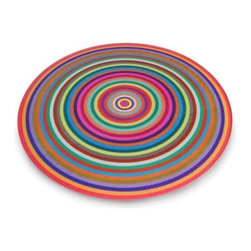 Antony Joseph Coloured Rings Cutting Board - This colorful glass work of art does triple duty; it's other uses are as a cutting board and as a trivet. Personally, I'd never want to take it off my countertop!