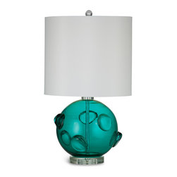 Bassett Mirror - Brooks Table Lamp - Vivid color, innovative design and intriguing texture combine in the Brooks Table Lamp. Its features include a crisp white cylinder shade, crystal ball finial, acrylic base and teal green glass sphere. The lamp's rounded shape and interior and exterior glass bubbles are juxtaposed with the straight, smooth shade to create an eye-catching look. Requires 60 watts or less, bulbs not included.