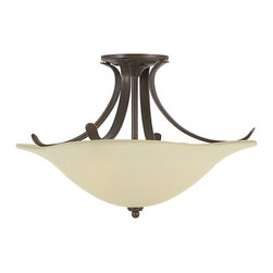 Murray Feiss - Murray Feiss Morningside Semi-Flush Mount Ceiling Fixture in Grecian Bronze - Shown in picture: Morningside Semi-Flush in Grecian Bronze finish with Cream Snow Glass Shade