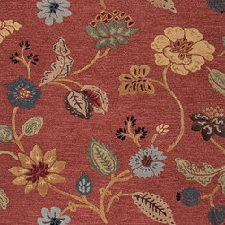 Jaipur Rugs - Transitional Floral Pattern Red /Orange Wool/Silk Tufted Rug - BL05, 8x11 - Give your whole room a lift with this heavenly floral rug. Woven out of wool and silk into a fresh but classic design, it's exactly the kind of luxe accent that'll showcase your favorite accessories. Its dusky coral color and neutral palette will perk up both dark woods and light upholstery in your living room or study.
