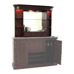 Howard Miller - Niagara Bar Hutch w Wine Glass Rack - A superb addition to the Niagara console, this matching hutch is an eye-attracting piece that displays hanging stemware and your classic beverage related items against a glass mirrored back and rustic cherry finished shelving. * Finished in distressed Rustic Cherry on select hardwoods and veneers can be added to the 693-006 Niagara ConsoleHanging stemware rackGlass mirrored backAdjustable shelves with Pad-LockTM metal shelf clipsOne adjustable glass shelf in the center and four adjustable wood shelves with glass inserts on the sides of the hutch to display your collectables and wine & spirits. Four small cubbie drawers at the base of the hutch hold smaller items such as corkscrews and bottle stoppersNo-ReachTM roller on/off light switch features three incandescent lights that illuminate the back bar61 in. H x 44.125 in. W x 12.5 in. D