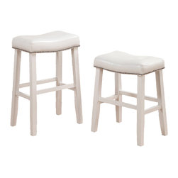 Adarn Inc. - 2 Barstools Faux Leather Saddle Nailhead Trim, White, Counter Height - Pair these bench style counter / bar height stools with your casual dining table. Each seat also features seat cushions covered in faux leather. Available in dark cherry and white.
