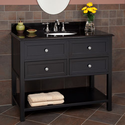 "44"" Taren Vanity - Black - This 44"" console vanity features a smooth Black finish, solid granite countertop with backsplash and a White, undermount sink. Featuring two functional drawers and an open lower shelf for additional storage."