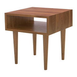 Eastvold Furniture - Classic Side Table, Walnut - The futurist zeal of the Sputnik era is celebrated in this contemporary classic. Made in Minnesota from solid wood, then treated to a protective lacquer finish, this table would look great beside a sofa or bed. It even offers ample space for storage or display.