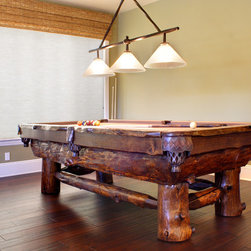 Interiors on Fox Farm Road - Our Products - Log pool tables are one of our most popular products for mountain homes.  Each is custom-made by a local craftsman and no two are alike!