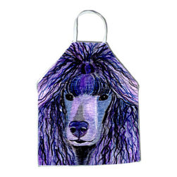 Caroline's Treasures - Poodle Apron - Apron, Bib Style, 27 in H x 31 in W; 100 percent  Ultra Spun Poly, White, braided nylon tie straps, sewn cloth neckband. These bib style aprons are not just for cooking - they are also great for cleaning, gardening, art projects, and other activities, too!