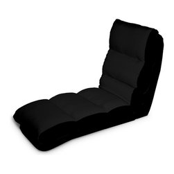 Lifestyle Solutions - Turbo Convertible Chaise Lounger in Black - Single seat function, Multiple Conversions. Converts from chair to chaise to bed position in seconds. Cover is Tufted and wrapped in polyester blend. No assembly required. Clean with damp cloth. Chaise Lounge: 47.2 in. L x 22 in. W x 32.2 in. H (34.2 lbs). Bed: 69.2 in. L x 22 in. W x 6.6 in. H (34.2 lbs)Cool and contemporary, the Turbo Convertible Chaise Lounger will make a smart and stylish addition to any room. When you sit, recline, or lie flat on this innovative convertible chaise, you'll experience the sweet comfort of soft microfiber upholstery and padded cushioning. It only takes a matter of seconds to adjust the position to fit your mood in the moment. Easily moveable from room to room. Ideal for a kid's room, game room, or dorm room, the Turbo will bring comfort and modern style to any setting. Choose from a wide assortment of colors to match your decor.