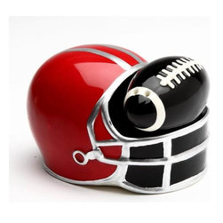 CG - Small Black Football in Red Helmet Salt and Pepper Shakers - This gorgeous Small Black Football in Red Helmet Salt and Pepper Shakers  has the finest details and highest quality you will find anywhere! Small Black Football in Red Helmet Salt and Pepper Shakers  is truly remarkable.