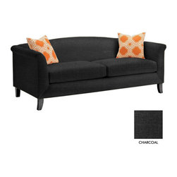 Apt2B - Albright Apt. Size Sofa, Charcoal - The Albright Collection is super chic. With a smooth back and tapered wooden legs, this sofa is sure to class up your space.