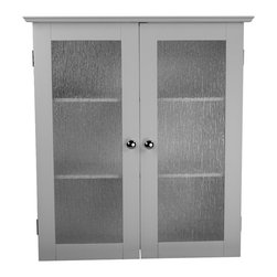 None - Highland White Double Glass Door Wall Cabinet - The Highland wall cabinet highlights a white finish and two textured glass panel doors. This functional piece also offers chrome finished knobs and an MDF construction that offers durability.