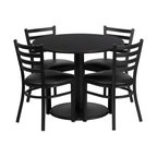 Flash Furniture - Flash Furniture Restaurant Furniture Table and Chairs X-GG-9201BRSR - 36'' Round Black Laminate Table Set with 4 Ladder Back Metal Chairs - Black Vinyl Seat [RSRB1029-GG]