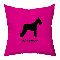 Checkerboard Ltd - Schnauzer Decorative Throw Pillow - 18 inch by 18 inch - Silhouette of your breed on the front with your dog's name and a bold initial overlay on a houndstooth pattern on back. Done in raspberry and black. Our softly textured fabric is long-lasting, wrinkle-resistant and feels as great as it looks.