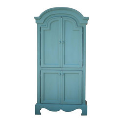 Sweet Elle Furniture - English Farmhouse Armoire - The English Farmhouse Armoire is perfectly elegant with its curved, wood detailing. It can be used as a media cabinet, a linen cabinet or a guest wardrobe. It comes with hanging pole, adjustable shelves and drawers behind the lower doors.