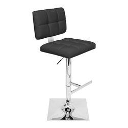 "Lumisource - Glamour Bar Stool, Black - 19"" L x 16.5"" W x 35.5 - 44.5"" H"