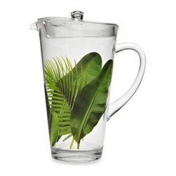 Tar Hong Direct/import Division - Poolside Palms Acrylic 87-Ounce Pitcher with Lid - Feel like you're in a tropical paradise any time with this playfully decorated acrylic drinkware. Great for indoor or outdoor use and it's dishwasher safe!