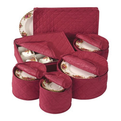 """Richards Homewares - Quilted China Keepers 6pc. Starter Set -Crimson - Is there a danger of your delicate and expensive chinaware chipping when stacked one on top of the other? Then guard them from now on in these specially designed, crimson colored China Plate Storage Cases! Each bag holds 12 dishes and comes with small thin cushioned dividers to protect the dishes from cracking or chipping. The lid opens from top for easy loading and removing of the dishes. Fasten the lid using the self correcting zipper made of nylon, to keep away the dust and moisture. Sizes: - Saucer Plate Case: 7"""" diameter - Dessert Plate Case: 8"""" diameter - Salad Plate Case: 9 1/2"""" diameter - Dinner Plate Case: 12"""" diameter - Cup chest: 13 1/2"""" x 11 1/2"""" x 4"""" - Platter case: 12"""" x 8"""""""