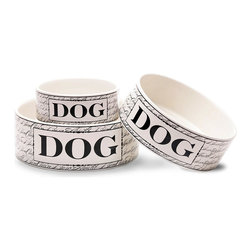 """Bon Chien Bowl - 7"""" - A sophisticated pattern of spidery script in a versatile black and white yields to a bold label of heavy capitals, making a gourmet presentation for a four-legged friend. Made from restaurant-quality, dishwasher-safe stoneware for your elegant convenience, the Bon Chien Bowl for large dogs adds European styling from floor to ceiling in your home."""