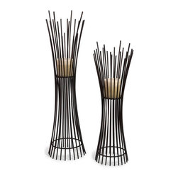iMax - iMax Metal Candleholder Duo, Set of 2 - Set of Two Matching Iron Contemporary Candle holders with Dramatic Vertical Lines From Floor to Base