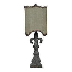 "Crestview - Crestview CVAUP449 Tuscan Fleur de lis Table Lamp - Tuscan Fleur de lis Table Lamp Tuscan Fleur de lis Table Lamp 29""Ht., Resin Tuscan Grey Finish 10/10x10/10x12.75 Mushroom Silk Shade"