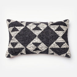 Frontgate - Bohemian Chic Lumbar Pillow - Makes a vibrant addition to a chair, sofa or bed. Neutral colors (gray, cream and black) pair well with any decor. Decorative design on pillow front, woven of 100% wool. Back of pillow is woven of 100% cotton. Feather/down insert. With a diamond-patterned design woven in 100% wool, this Bohemian Chic Decorative Pillow looks and feels like a hand-loomed wool kilim rug. Given a feather/down insert and knife-edge finish, this makes a casual, geometric accent piece with textural appeal.. . . . . Zippered closure for easy care. Dry cleaning recommended. Imported.