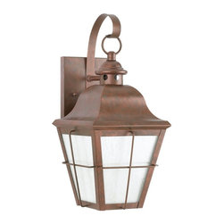 Sea Gull Lighting - Sea Gull Lighting Chatham Dark Sky Traditional Outdoor Wall Sconce X-44-D2648 - This Sea Gull Lighting Chatham Dark Sky Traditional Outdoor Wall Sconce is a piece that reflects New England simplicity. Notice the design of the frame in a rich and warm, weathered copper finish complemented by the panels of clear, seeded glass. It's a stylish, casual piece with a rustic charm and timeless elegance.