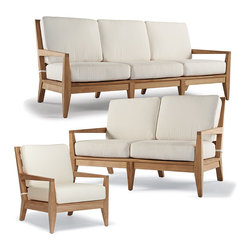 Frontgate - Peyton 3-pc. Outdoor Sofa Set, Patio Furniture - Sleek silhouette provides a dramatic canvas for the beautiful graining and lovely silver patina, which will develop if the teak is left untreated. Designed exclusively for Frontgate. White mesh seats provide an extra layer of comfort beneath the cushions. Responsibly constructed from premium plantation-grown teak - a naturally durable wood. Teak is sanded to a smooth finish. Modern lines enhance the classic natural beauty of premium teak in our Peyton Seating Collection. Prized for a beauty that is only enriched by the elements, solid pieces of plantation-grown teak take on a relaxed yet sophisticated profile, with slim, squared arms, wide slats and simple tapered legs. The luxuriously deep, low-slung seating is finished with thick box cushions with a high-resiliency foam core and premium all-weather upholstery.  .  .  .  .  . All-weather cushions are constructed of a high-resiliency foam core with soft polyester wrap . Covered in 100% solution dyed fabric that resists mold, mildew and fading . Choose Solid or Stripe upholstery for the Lounge Chair and Ottoman . All pieces feature fully concealed rust- and corrosion-resistant 304 stainless steel hardware . Chaise features a convenient built-in tray table; adjusts to four positions, from upright to fully reclined . Cushions are included . Assembly required on all pieces except the sofa and loveseat .