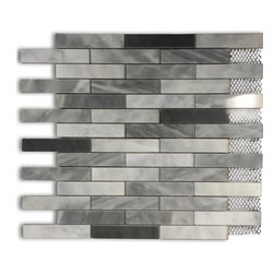 "GlassTileStore - Bardiglio Blend Big Brick Pattern - Bardiglio Blend Big Brick Marble Tile             This marble mosaic will provide endless design possibilities from contemporary to classic. It creates a great focal point to suit a variety of settings. he mesh backing not only simplifies installation, it also allows the tiles to be separated which adds to their design flexibility. Natural stones are products of nature, therefore, variations in color, pattern, texture, and veining will occur.         Chip Size: 3/4"" x 4""   Color: Light and Dark Bardiglio    Material: Marble   Finish: Polished    Sold by the Sheet - each sheet measures 12"" x 12"" (1 sq. ft.)   Thickness: 10mm   Please note each lot will vary from the next.            - Glass Tile -"