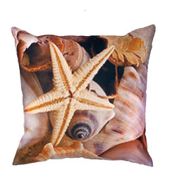 DD - Coral Starfish Outdoor Pillow - Enjoy this beautiful Starfish outdoor pillow that will give you the sensation of being on an exotic beach resort right out of your own backyard