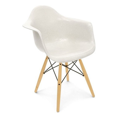 Modernica Dowel Arm Shell Chair - The Case Study Fiberglass Dowel Chair is an essential for the modern home and with so many options—it is possible to create your own one-of-a-kind chair. The shell is available in a myriad of colors. Choose your wire-frame in either zinc-plated steel or black powder-coated steel, and finish your design by choosing either solid maple dowels or solid walnut dowels.