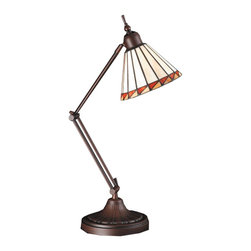 Meyda Tiffany - Meyda Tiffany Adjustable Desk Lamp - Handcrafted of authentic art glass using Louis Comfort Tiffany's copper foil construction process, this mission style task luminary features a geometric cone-shaped shade with a russet red and honey-colored flag motif edging bone beige glass