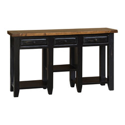 Hillsdale Furniture - Hillsdale Tuscan Retreat 3 Drawer Hall Table in Black/Oxford - Tuscan Retreat TM accent pieces are authentic artisan interpretations of old world and cottage furniture.  Each piece is crafted from new and restored timbers to give it the appearance of a century old treasure.  The finished are hand prepared from the sanding and scrapping to the final steps.  Featuring solid wood throughout and old world cabinet construction.  Every detail is designed to bring you years of enjoyment.