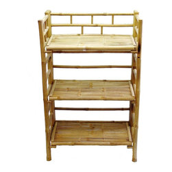 Bamboo54 - Bamboo Shelf Cabinet - Create an Asian inspired d̩cor with practical 3 tier bamboo shelf pair. Foldable design maximizes space and storage, enhances portability. Attractive, strong bamboo shelves are perfect for bath towels, books or collectibles. Any room acquires impressive personality with the addition of these shelves. Well-known for strength & durability, bamboo makes sturdy, long-lasting shelves. * Solid bamboo. 3 tier Folding shelves. Shelf clearance of 23 in. W x 13 in. H. 24 in. W x 15 in. D x 41 in. H (24 lbs.)
