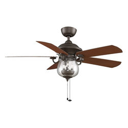 Fanimation - Fanimation Crestford Transitional Ceiling Fan X-BO4597PF - The classic style of the Crestford paired with the uniquely shaped light fixture is a perfect finishing touch for your outdoor location. This oil-rubbed bronze fan complete with cherry/walnut all-weather composite blades is rated for wet locations. With the option of using this fan in dry, damp or wet locations, you are sure to find just the right place for this exceptional fan. The blade sweep measures 52 inches, and this ceiling fan operates at three forward and reverse speeds. All Fanimation motors are protected by a limited lifetime warranty.