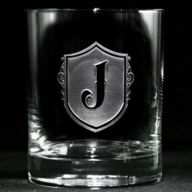 Custom Engraved Personalized Whiskey, Scotch Glasses - Personalized custom whiskey, scotch and bourbon glasses are the perfect gift for bridal shower, engagement, wedding, birthday and for the man or woman who has everything. Real estate agents and interior designers often give our personalized barware to special clients as housewarming or thank you gifts. Not engraved, but deeply sand carved, each of our glasses is hand crafted. The background is carved away, leaving the monogram and design raised from the glass in a 3D manner. Simply exquisite. Crystal Imagery