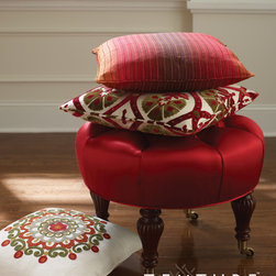 Modern Elegance Collection - Stool: Fiona-scarlet. Pillow:Edmond-fire, Claire-rojo, Amelia-summer